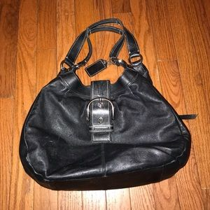 Coach Leather Hand Bag Black Soft Leather
